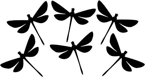 Dragonfly Decal Sticker Car Motorcycle Truck Bumper Window Laptop Wall Décor Size- 6 Inch Wide Black Color ()