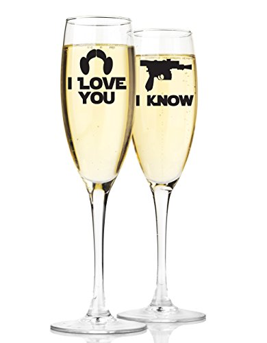 Mr and Mrs Champagne Wedding Flutes Star Wars Inspired I Love You I Know Quote Set of 2 Customized Toasting Flutes Glasses Bride and Groom ()