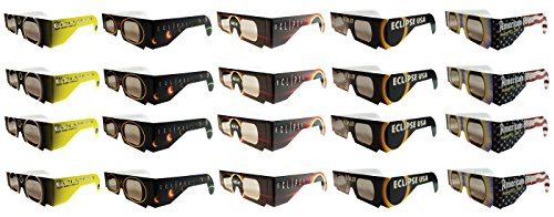 Price comparison product image Eclipse Glasses - CE Certified Safe Solar Eclipse Glasses – 20pk Assorted- Eye Protection