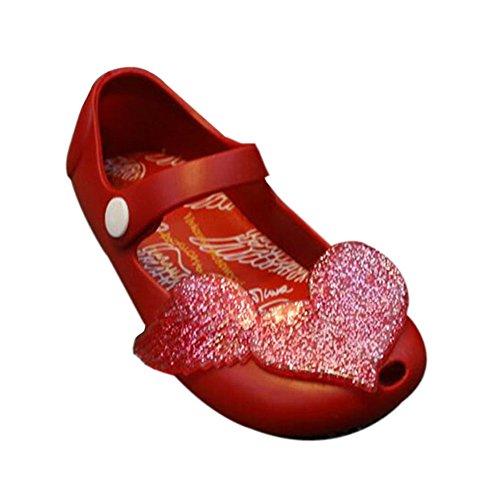 Hzjundasi Sommer Baby M?dchen Niedlich Anti-Rutsch Weich Gelee Fisch Mund L?ssige Flache Schuhe Kleinkind Kinder Strand Sandalen Regen Stiefel Rot