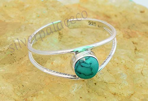 925 Sterling Silver Turquoise Toe Rings - Turquoise Stone Gemstone Girl Women Toe Ring Adjustable Feet Body Jewellery