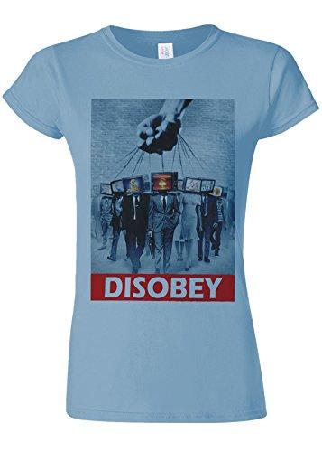 飛行機ヒゲ上へDisobey TV Heads Slavery Novelty Light Blue Women T Shirt Top-M