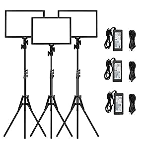 "LED Video Light Stand Lighting Kit - 16.5"" Bi-Color 3200k-5600k 45W Dimmable LED Panel 6.25 feet Adjustable Light Stand Canon Nikon Pentax Camera Camcorder Studio Shooting Photography lamp (3-Pack)"
