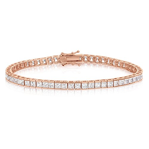 KEZEF Creations Square Princess Cut 3x3mm White Cubic Zirconia Tennis Bracelet in Rose, 14K Gold & Rhodium Plated Silver (6.50, rose-gold-plated-silver) ()