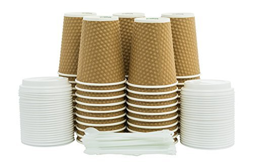 Tan Beverage (Bear Supplier Paper Coffee Cups 12 oz - 50 ct Insulated Disposable Cups Lids and Stirrers Set -Individual or Business - Travel To Go Cups - For Hot Drink - Tea - Chocolate - Coffee - Unique Tan Cup)