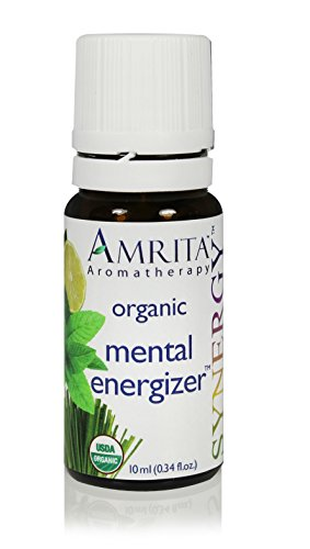 AMRITA Aromatherapy: Mental Energizer Synergy Essential Oil Blend (Natural Energy Booster) Organic Essential Oil Blend of Lemon, Distilled Lime, Peppermint, Ginger CO2 -Size: 10ML