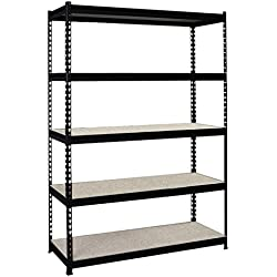 "Eonmetall F1555A010001 Mona Steel Storage Rack, 5 Adjustable Shelves, 72"" Height x 48"" width x 18"" Depth, 72"" Height, 18.5"" width"