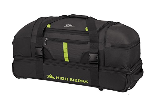 High Sierra Evolution Wheeled Drop Bottom Duffel Bag, Black/Zest, 30