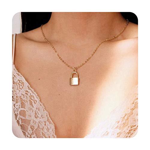 Summer-lavender Square Lock Padlock Pendant Necklace Choker Chain for Unisex Lover Bohemia Geometric Forever Friendships