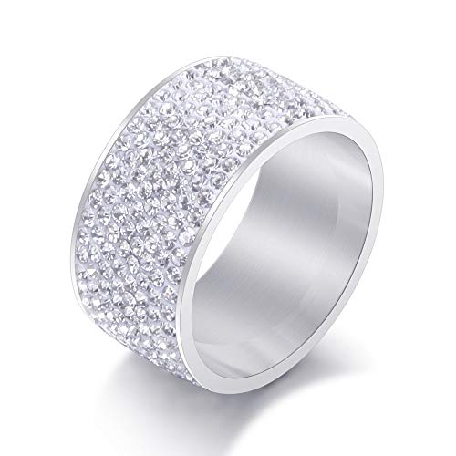 Jewelrysays 12MM Wide 8 Row Clear Crystal Ring Men Women Stainless Steel Iced Out Rings(Silver,6) ()