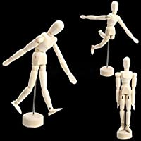 Yosoo Artist Male Wooden Figure Model with Movable Limbs for Sketching Drawing Aid Mannequin