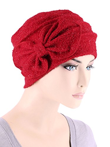 Chemo Winter Hat Soft Fuzzy Eyelash Ribbed Flower Bow Cloche Beanie Cancer Cap Ruby - Red Cap Liner
