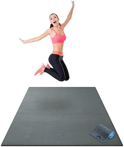 Premium Large Exercise Mat - 6' x 4' x 1/4 Ultra Durable, Non-Slip, Workout Mats for Home Gym Flooring - Plyo, HIIT, Jump, Cardio Mat - Use With or Without Shoes (72