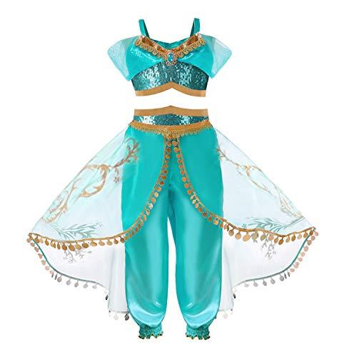 TTMOW Girls Princess Jasmine Dress Up Costumes Halloween Party Fancy Dress with Headband ()