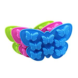 Riverbyland Butterfly Shape Rubber Ice Cube Trays Assorted Colors Set of 3