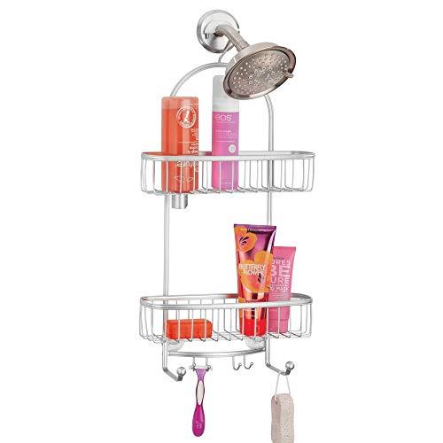 mDesign Vintage Metal Wire Bathroom Tub & Shower Caddy, Hanging Storage Organizer Center with 2 Wash Cloth Hooks and Baskets for Bathroom Shower Stalls, Bathtubs - Rust Resistant Steel - Chrome