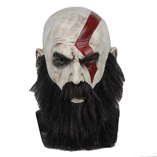 Hotcoser God of war Game Kratos Mask with Beard Latex Helmet Halloween Cosplay Party Props for Adult Gray ()