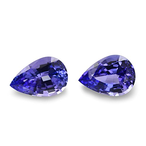 5.32Cts Violet Tanzanite Loose Gemstone Pear Shape Pair by Leibish & Co