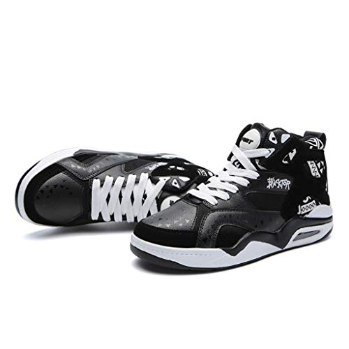 (Air Cushioning Basketball Shoes Men,Mosunx Athletic 【High Top Ankle Support Shock Absorption】Breathable Lace Up Sneakers (10.5 M US, Black))