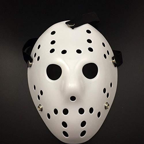 ハロウィン Cosplayマスク 仮面 パーティー コスプレ小道具 13日の金曜日 ジェイソンのお面 舞台用 演出 恐怖感 八種類選択 (ホワイト)