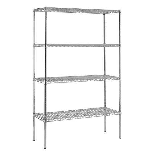 Sandusky WS481874-C Chrome Steel Heavy Duty Adjustable Wire Shelving, 3200 lbs Capacity, 48