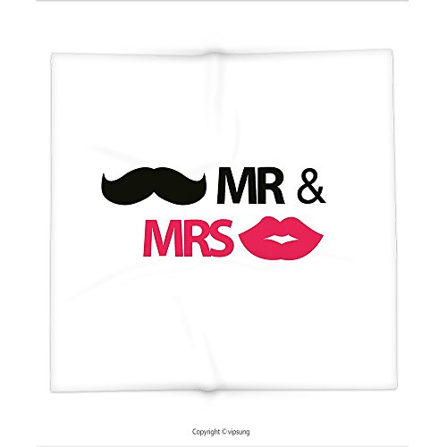 Custom printed Throw Blanket with Wedding Decorations by Funny Stencil Art Lips Moustache Mr and Mrs Retro Stylized Design Black Pink White Super soft and Cozy Fleece (Doctor Who Pumpkin Stencils)