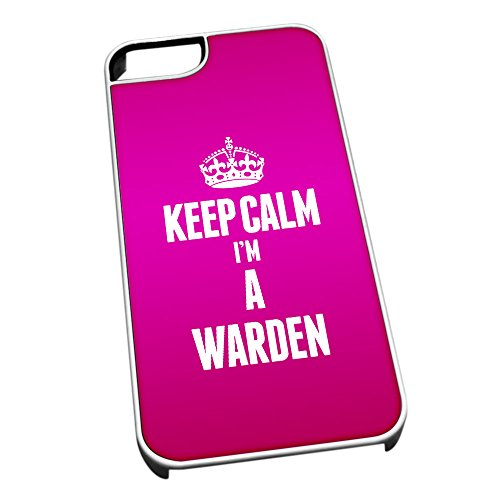 Bianco cover per iPhone 5/5S 2714 rosa Keep Calm I m A Warden