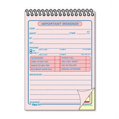(TOPS 4010 Important Message Pad, 4-1/4-Inch x6-Inch, 50 Sets, PK/CY Paper)