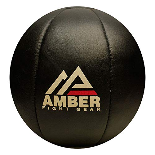 Amber Fight Gear Leather Medicine Ball for Strength & Conditioning, Plyometric & Core Training, Cardio Workouts for Muscle Building, Squats, Lunges, Partner Training 20lb