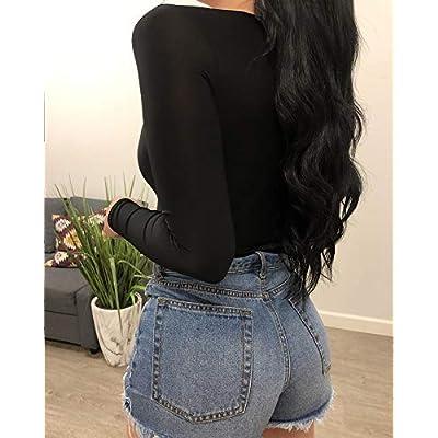 Allchic Womens Long Sleeve Bodysuit Tops Scoop Neck T Shirt Jumpsuits: Clothing
