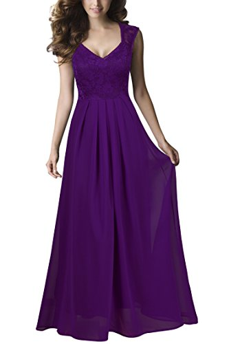 REPHYLLIS Women Sexy Vintage Party Wedding Bridesmaid Formal Cocktail Dress(L,Purple)