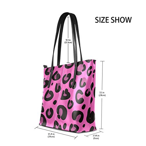 Purses Bags PU Leopard Shoulder Handbag Top Leather Women's TIZORAX Handle Texture Pink Fashion Totes xUwqnfOZ