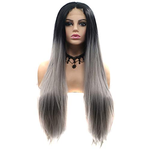 - Wenjing Front Lace Wig Long Straight Half Hand Tied Lace Front Synthetic Fiber Wig Ombre Smoky Gray for Girls