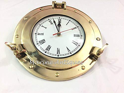 Nagina International Premium Nautical Brass Porthole Clock | Pirate Ship's Elegant Metal Roman Dial Face Wall Clock | Home Decorative Gifts (17 - Clock Metal Pirates