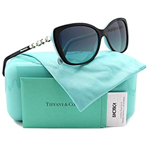 Tiffany & Co. TF4103HB Sunglasses Black/Blue w/Blue Gradient (8055/9S) TF 4103 80559S 56mm Authentic