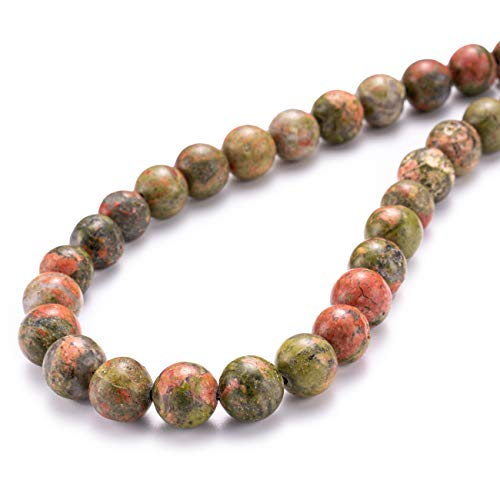 BEADIA Natural Unakite Stone Round Loose Semi Gemstone Beads for Jewelry Making 8MM 44PCS