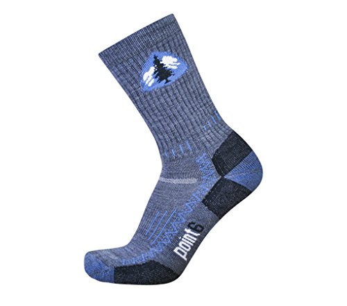 Point6 Hiking Tech PCT, Light Crew sock - X Large, Gray with a Helicase sock ring