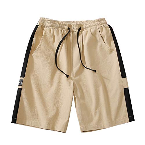 Seaintheson Men's Cargo Shorts,Solid Color Casual Gym Athletic Shorts Drawstring Breathable Jogger Beach Pants -