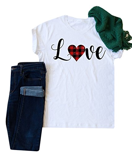 Chimikeey Love Plaid Tees Valantine Day Gift T-Shirt Shirts For Women - Date Day Valantines