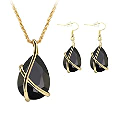 Specifications:        Type: Jewelry Set Gender: Women's Theme: Beauty Style: Fashion, Luxury Material: Resin, Alloy Occasions: Party, Banquet, Wedding, Engagement, Gift Features: Waterdrop Pendent, Golden Color Chain, Hook Earrings Ne...