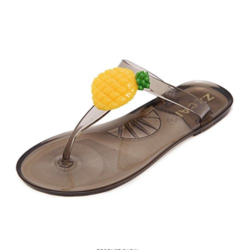 GIY Women's Pineapple Fruit Flip Flop Jelly Sandals Clear Su