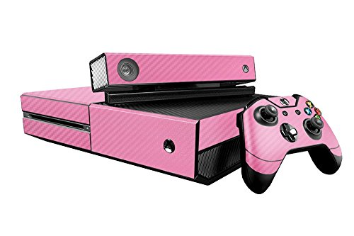 Microsoft Xbox Faceplates Carbon (Microsoft Xbox One Skin (XB1) - NEW - 3D CARBON FIBER SOFT PINK - Air Release vinyl decal faceplate mod kit by System Skins)