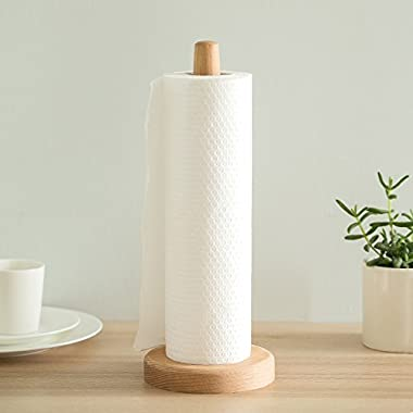 UHBGT Paper Towel Holder, Kitchen Paper Hanger Rack Bathroom Towel Roll Stand Organizer Simply Standing Countertop Wooden Paper Roll Holder for Cabinet, Table