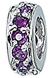 Zable Sterling Silver Purple CZ Wheel Bead