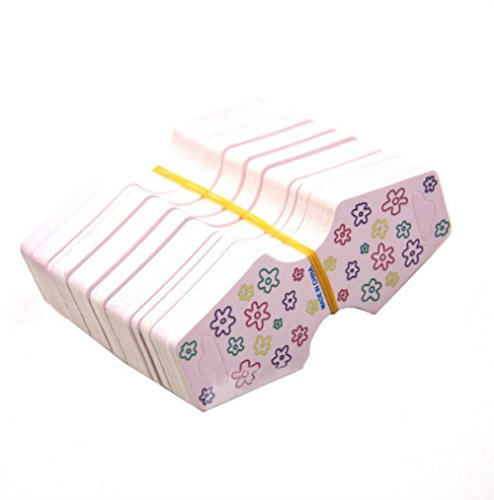 AKOAK 100 Pcs/Lot 9.3cm x 3.7cm Flower Printed Jewelry Display Cards Bracelet Necklace Jewelry Finding Packaging Display Hanging Cards