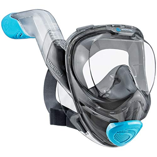 WildHorn Outfitters Seaview 180° V2 Full Face Snorkel Mask with FLOWTECH Advanced Breathing System - Allows for A Natural & Safe Snorkeling Experience - Panoramic Side Snorkel Set Desig (Sky, Small)
