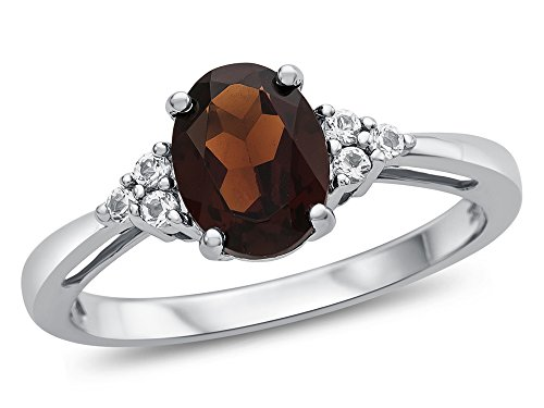 Finejewelers 10k White Gold 8x6mm Oval Garnet and White Topaz Ring Size 4