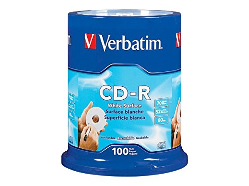Verbatim CD-R 700MB 80 Minute 52x Recordable Disc with Blank White Surface - 100 Pack (80 Disc Storage)