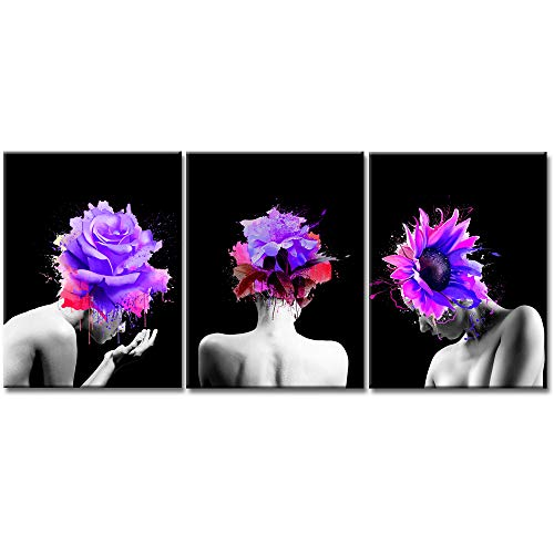 iKNOW FOTO 3 Pieces Creative Abstract Canvas Prints Women Face Beautiful Purple Flowers in Girl Hair Wall Art Gallery Wrap Artwork Ready to Hang Modern Home Salon Walls Decor 16x24inchx3pcs