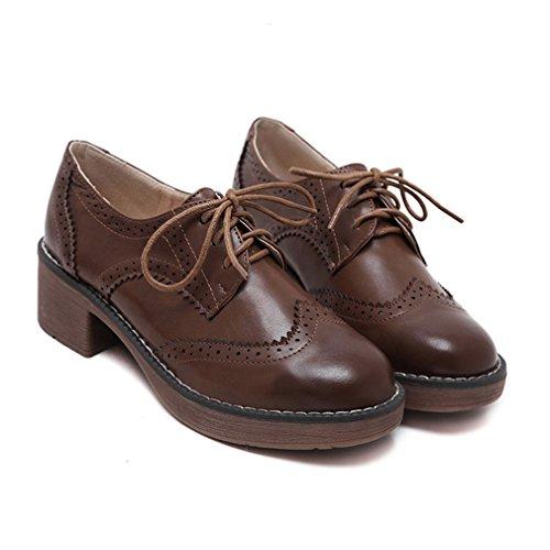 Hoxekle Damesmode Lage Britse Stijl / Geperforeerde / Wingtip Oxford Schoenen / Vintage Oxford Schoenen Bruin